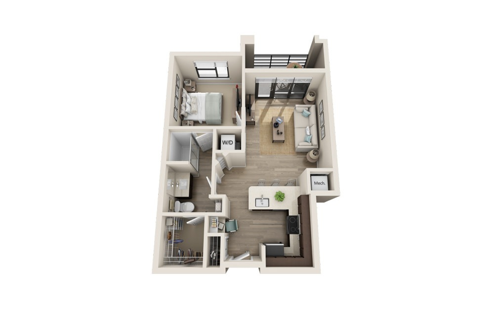 A1 - 1 bedroom floorplan layout with 1 bath and 741 square feet.