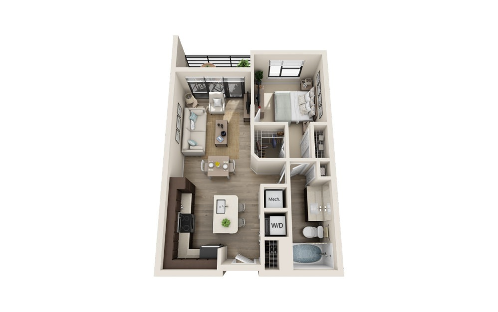 A2 - 1 bedroom floorplan layout with 1 bath and 746 square feet.