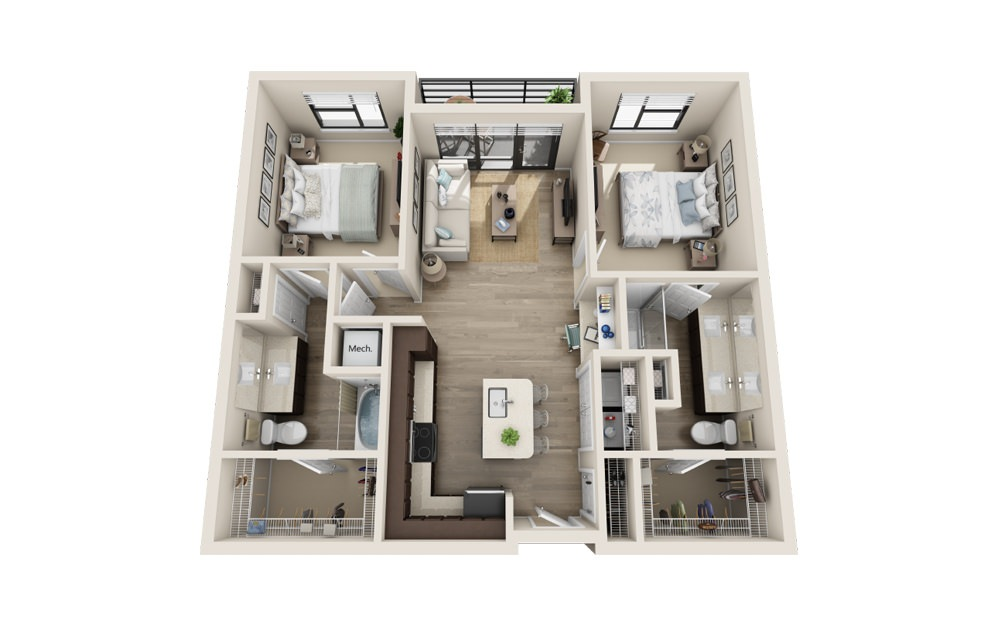 B1 - 2 bedroom floorplan layout with 2 baths and 1143 square feet.
